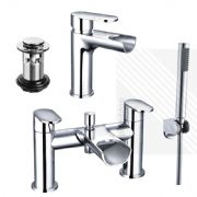 Arian India Curved Waterfall Basin Mixer and Bath Shower Mixer Tap in Chrome with Waste